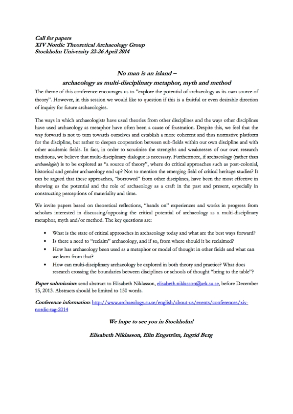 Call for papers XIV Nordic TAG