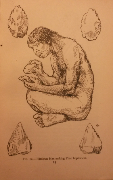 'Piltdown Man making Flint Implement', M. Quennell and C. H. B. Quennell, Everyday life in the Old Stone Age (London: B. T.  Batsford, 1921), p. 25