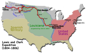 Louisiana Purchase and Map of Lewis and Clark Expedition.