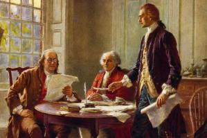 Franklin (L) and Jefferson (R) debate the Declaration of Independence with John Adams (middle). Adams was the 2nd US President.  Franklin never held the office.