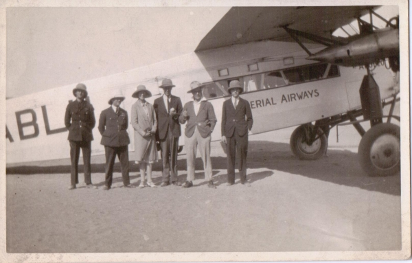 Members of the Breasted expedition and the plane - copyright Croydon Airport Society