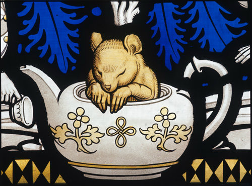 Dormouse in the teapot, Mad Hatter's tea party from Alice in Wonderland, Lewis Carroll window, Geoffrey Webb, 1934, All Saints Church, Daresbury, Cheshire, England. http://www.soniahalliday.com/category-view3.php?pri=732-9-77.jpg