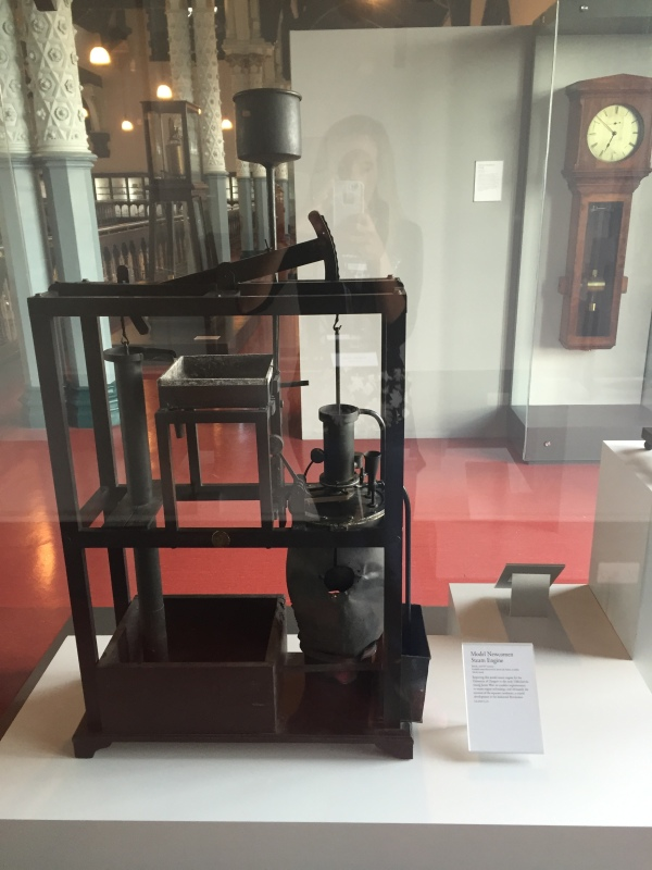 Model Newcomen engine. James Watt improved on this engine, making it 10 times more efficient. It went from a thermodynamic efficiency of .5% to 5%. Picture and nerd facts by Kate