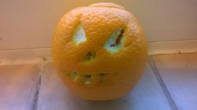 Orange carving - so much easier than pumpkins!