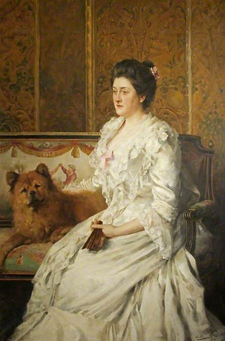 Malempre, Leo, b.c.1860; Lady Florence Antrobus (1856-1923), with a Chow